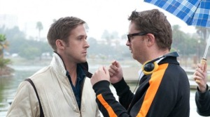 Refn on the set of Drive with Gosling