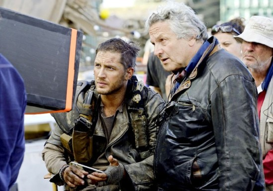 Tom Hardy and George Miller review footage on the set of Mad Max: Fury Road