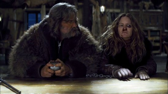 Kurt Russell looks at Jennifer Jason Leigh in Tarantino's The Hateful Eight